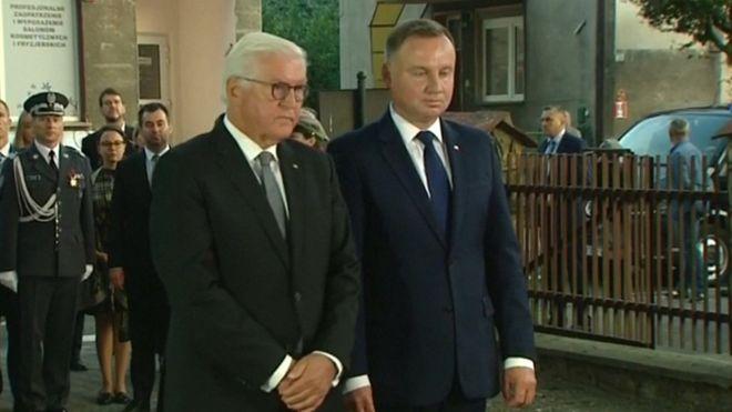 German President Frank-Walter Steinmeier (L) asked Poland's forgiveness for World War Two