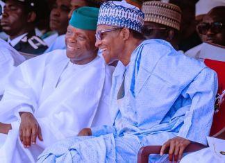 President Muhammadu Buhari and Vice President Yemi Osinbajo during the 59th Independence Day celebration in Abuja on 1 October