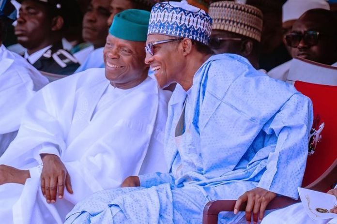 President Muhammadu Buhari and Vice President Yemi Osinbajo during the 59th Independence Day celebration in Abuja on 1 October
