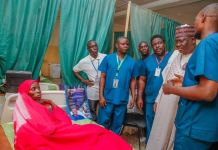 Senate President Ahmad Lawan making the round during a medical outreach in Yobe