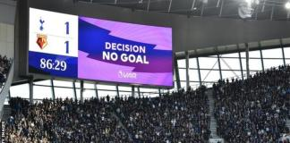 The big screen initially adjusted the scoreline to show Tottenham's goal had been given - but also read 'no goal' in an error by Hawk-Eye