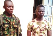 The two fake soldiers that were arrested by the Police