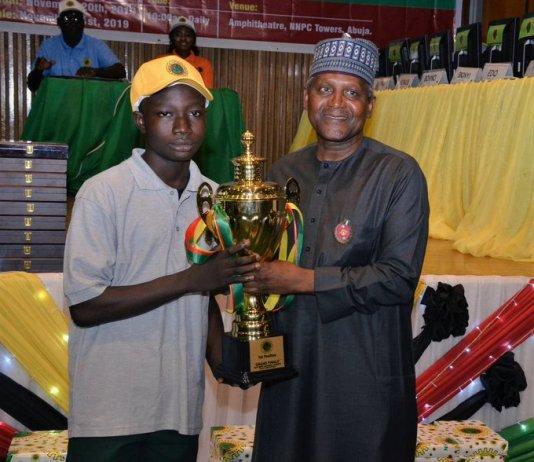 Ojo Oluwatobi from APT. Scholars Universal College, Ota won the 2019 NNPC Science Quiz competition