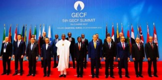 President Muhammadu Buhari at the gas sunmmit in Malabu, Equatorial Guinea