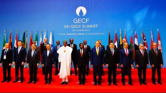 President Muhammadu Buhari at the gas sunmmit in Malabu, Equatorial Guinea