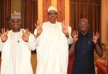 Yahaya Bello, President Muhammadu Buhari and Adams Oshiomhole
