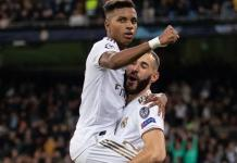Rodrygo (left) completed his hat-trick in stoppage time after Karim Benzema's brace