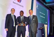 "CEO, UBA Africa, Mr Victor Osadolor (middle) with the ""African Bank of the Year 2019"" won by United Bank for Africa(UBA) Group at The Bankers Awards held in London."