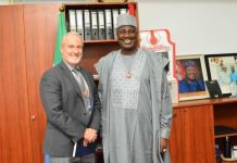 Deputy Chief Whip of the Senate, Senator Aliyu Sabi Abdullahi with the Political Officer of the Embassy of the United States of America, Jerry Howard, during a meeting with the Senator on the Hate Speech bill at the National Assembly