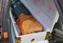Petrol in jerry cans were concealed inside a casket