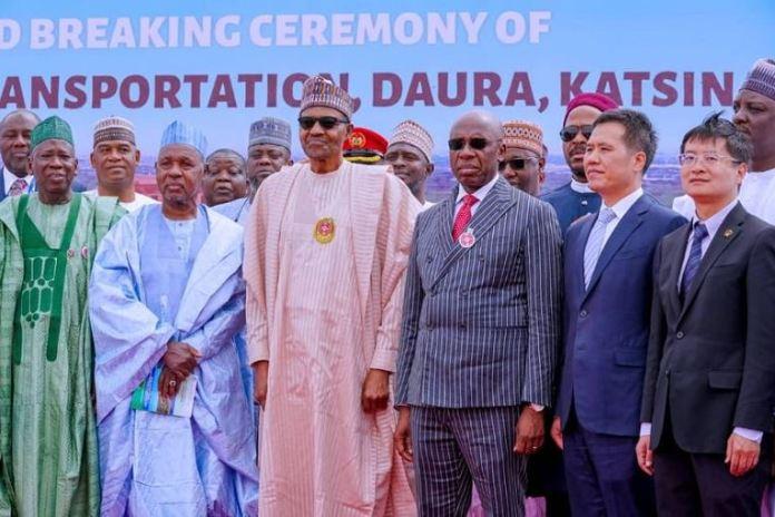 President Muhammadu Buhari at the groundbreaking of the Transportation University in Daura, Katsina State