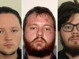 From left: Jacob Kaderli, Michael Helterbrand and Luke Austin Lane all members of neo-Nazi group, The Base were arrested by the FBI
