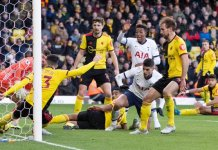 New signing Nacho Pussetto cleared the ball from the line as Watford drew Tottenham 0-0