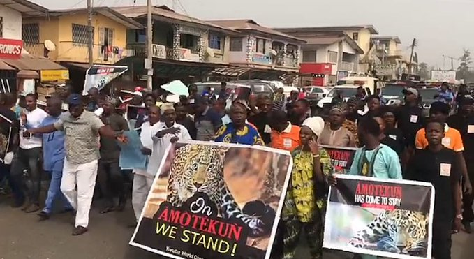 Southwest residents protest in support Amotekun