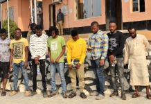 Stanley Ejike Awam and the 10 internet fraudsters arrested by EFCC in Ibadan