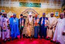 Vice President Yemi Osinbajo and Governor Abdullahi Ganduje paid a courtesy visit to Emir of Kano, Muhammad Sanusi II