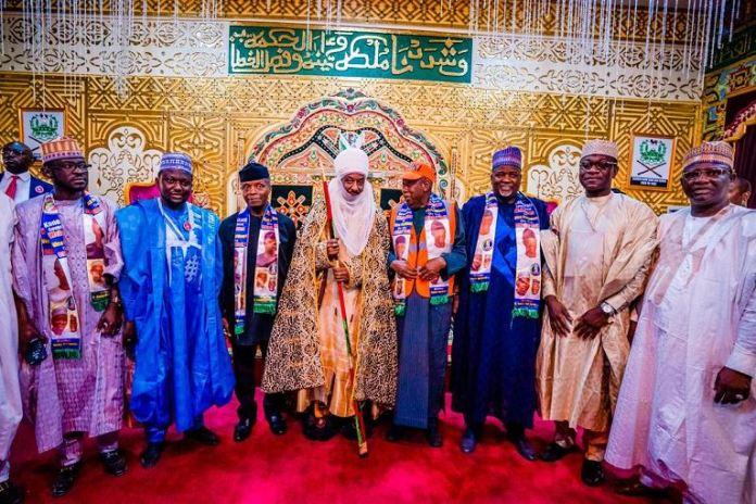 Vice President Yemi Osinbajo and Governor Abdullahi Ganduje paid a courtesy visit to Emir of Kano, Muhammad Sanusi II