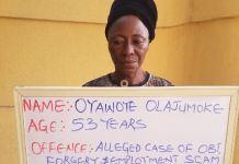 Oyawoye Olajumoke has been arrested by EFCC for employment scam