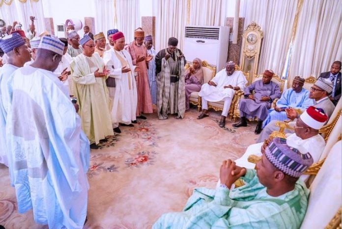 President Muhammadu Buhari at the palace of the Shehu of Borno during a condolence visit to Borno