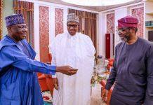 Senate President Ahmed Lawan; President Muhammadu Buhari and Speaker, House of Representatives, Femi Gbajabiamila during their meeting at the Presidential Villa in Abuja on Monday