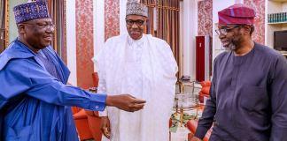 FILE: Senate President Ahmed Lawan; President Muhammadu Buhari and Speaker, House of Representatives, Femi Gbajabiamila during their meeting at the Presidential Villa Supreme Court