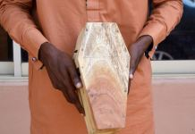 Azeez Adebowale was arrested with a mini coffin in Ibadan by EFCC operatives