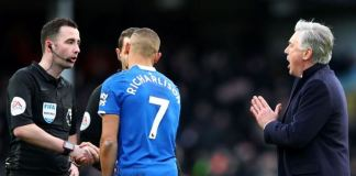 Everton manager Carlo Ancelotti was shown a red card after demanding answers for cancelled late goal