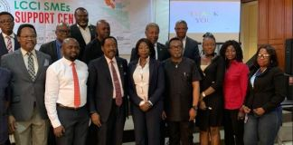 Helen Nwelle, Group Head, MSME and Value Chain Management of Keystone Bank Limited with executives of the Lagos Chambers of Commerce and Industry (LCCI) and other business consultants, at the launch of the LCCI SME Support Centre, in Lagos recently