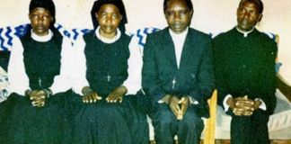 Twenty years on, the whereabouts of (from L to R) Ursula Komuhangi, Credonia Mwerinde, Joseph Kibwetere and Dominic Kataribabo are unknown