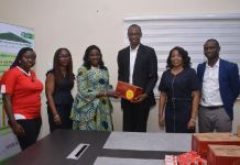 Unilever management presents Lifebuoy, Sunlight and OMO soaps and detergents to the Ogun State Government