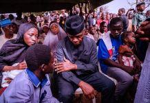 Vice President Yemi Osinbajo graced the burial ceremony of a late escort Ali Gomina