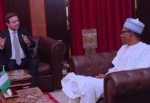 EU Ambassador to Nigeria and ECOWAS, Ketil Karlsen and President Muhammadu Buhari of Nigeria