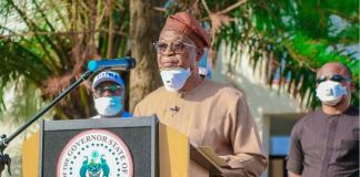 Governor Oyetola of Osun addressing the media on coronavirus pandemic in the state