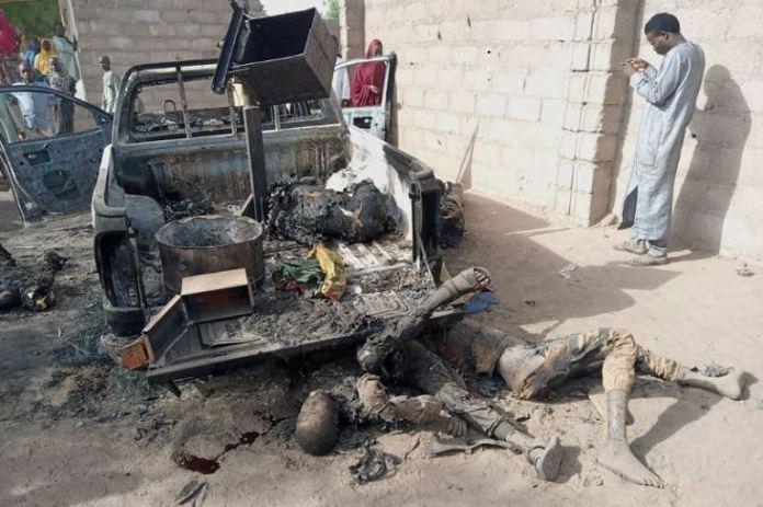 Charred bodies of Boko Haram fighters in Buni Gari, Yobe state