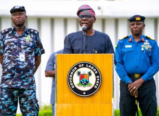 Governor Babajide Sanwo-Olu of Lagos providing updates on coronavirus pandemic