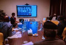 Vice President Yemi Osinbajo chairing the Special NEC committee on COVID-19 via videoconferencing