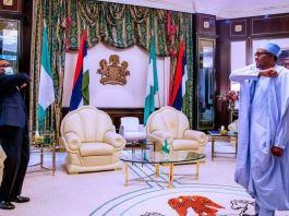 AfDB President Akinwunmi Adesina and President Muhammadu Buhari maintain social distancing during the visit of the former to Aso Rock