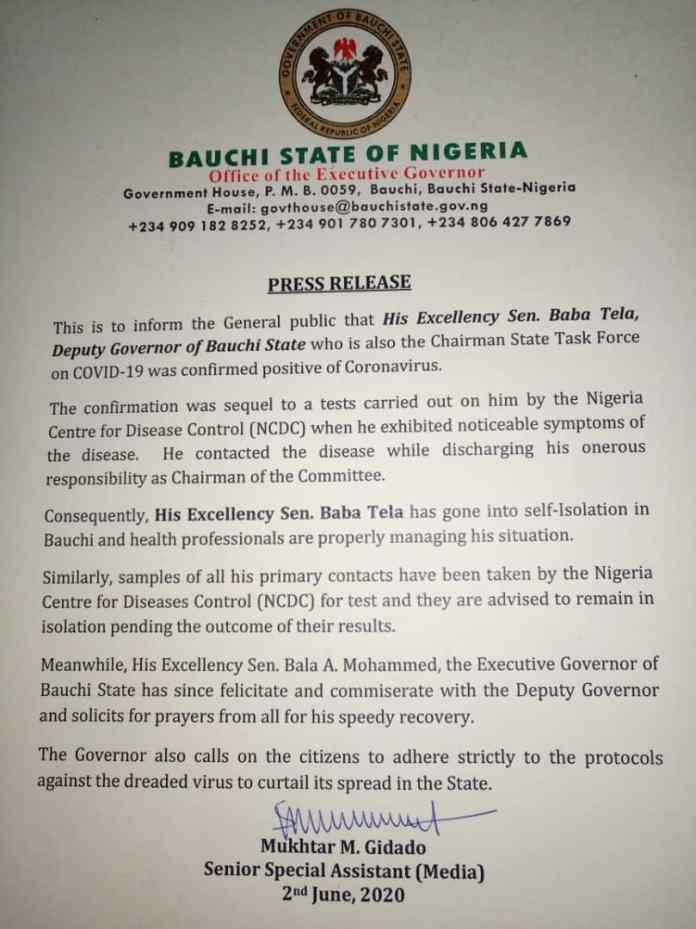 Bauchi state deputy governor, Baba Tela tests positive for COVID-19