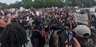 Peaceful protest for George Floyd in downtown Baton Rouge, Louisiana