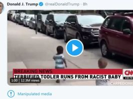 President Trump's tweet is now annotated with a warning about the edited video