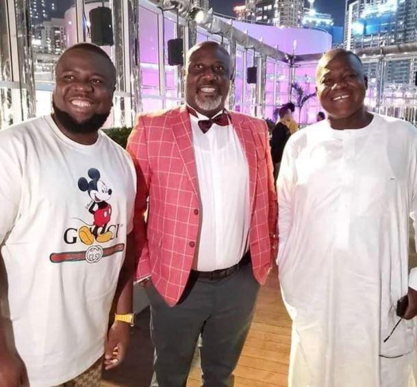 Hushpuppi with PDP leaders Senator Dino Melaye and former Speaker, Yakubu Dogara