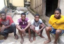 The four suspects arrested by the Lagos Police Force