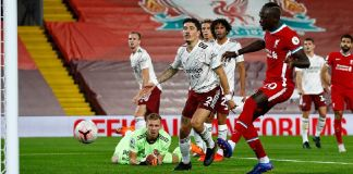 Sadio Mane equalised for Liverpool after Leno saved Mo Salah's strike