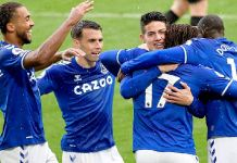 Dominic Calvert-Lewin and James Rodriguez both scored for Everton