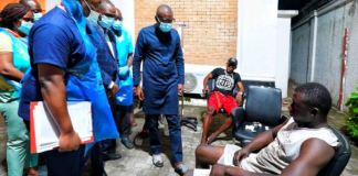 Governor Babajide Sanwo-Olu visiting victims at a hospital in Lagos State