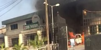 The Nation office was torched by armed men who invaded the building commando-like style