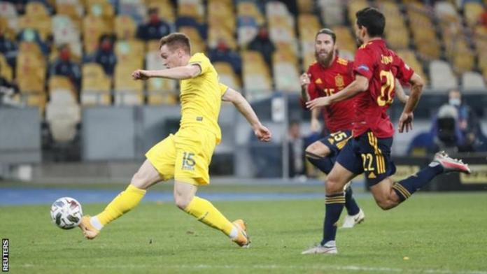 Viktor Tsygankov came off the bench to score with Ukraine's first shot on target Spain
