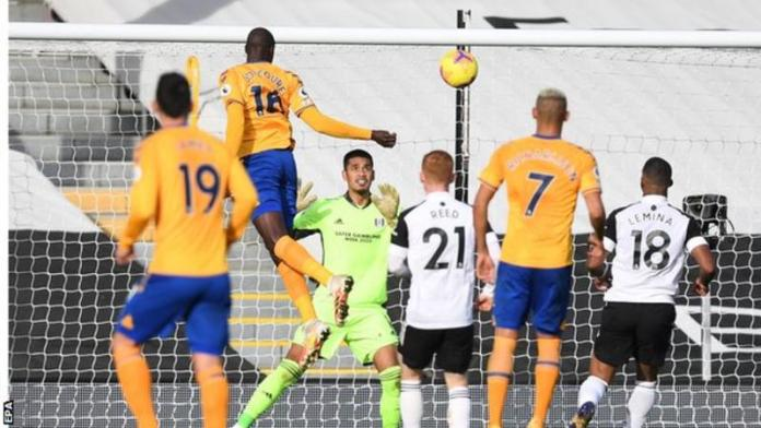 Abdoulaye Doucoure scored his first Premier League goal for Everton since joining from Watford in the summer