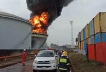Oando tank farm in the Ijora Badia area of Lagos on fire