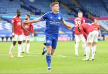 Leicester's Harvey Barnes drew Leicester City level in the first half with a ferocious strike from the edge of the box